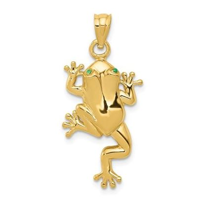 Picture of 14k Yellow Gold Frog Enameled Eyes Charm