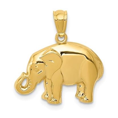 Picture of 14k Yellow Gold Polished Elephant Pendant