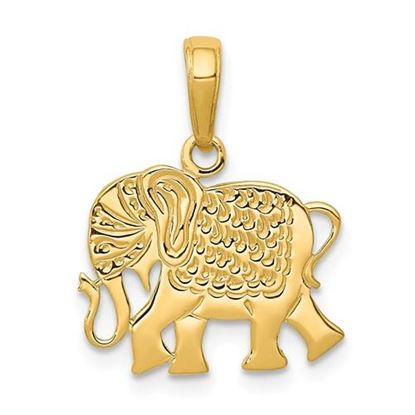 Picture of 14k Yellow Gold Textured Elephant Pendant