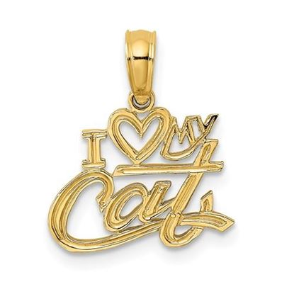 Picture of 14k Yellow Gold I Heart My Cat Pendant