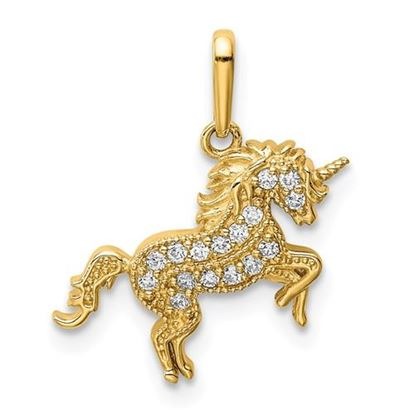 Picture of 14k Yellow Gold Rearing Unicorn CZ Pendant