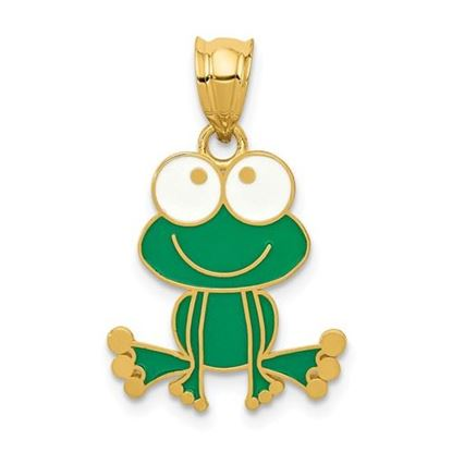 Picture of 14k Yellow Gold Green and White Enameled Frog