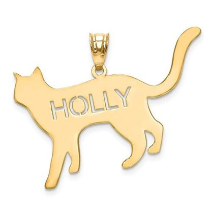 Picture of Personalized Sterling Silver Gold-plated Laser Polished Cat Name Pendant