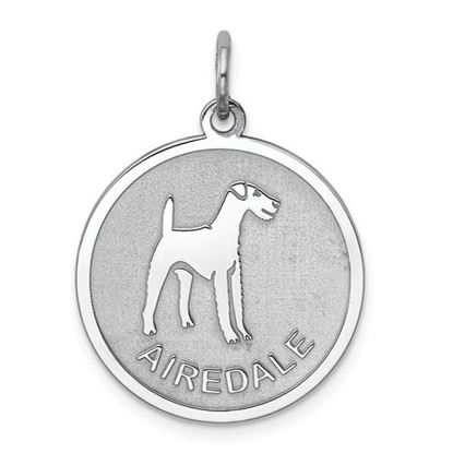 Picture of Sterling Silver Rhodium-plated Airedale Disc Charm