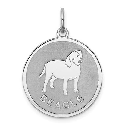 Picture of Sterling Silver Rhodium-plated Beagle Disc Charm