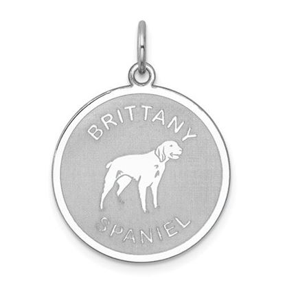 Picture of Sterling Silver Rhodium-plated Brittany Spaniel Disc Charm