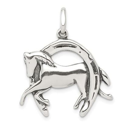 Picture of Sterling Silver Antiqued Horse in Horseshoe Charm
