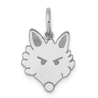 Picture of Sterling Silver Rhodium-plated Fox Head Polished Front Satin Back Charm