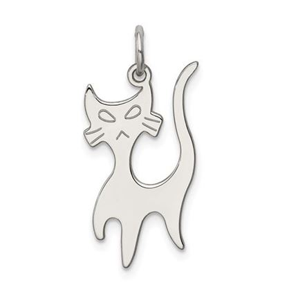 Picture of Sterling Silver Rhodium-plated Cat Charm