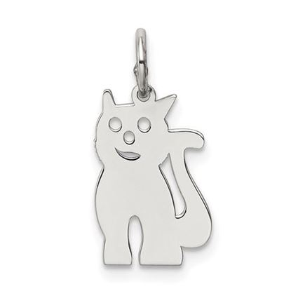 Picture of Sterling Silver Rhodium-plated Cat Polished Charm