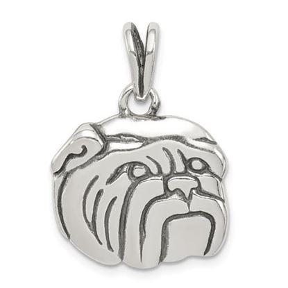 Picture of Sterling Silver Antiqued Bulldog Charm