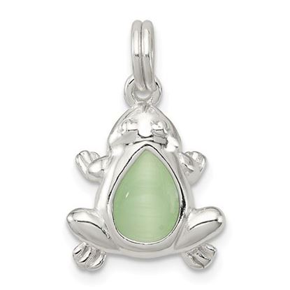 Picture of Sterling Silver Green Cats Eye Frog Charm