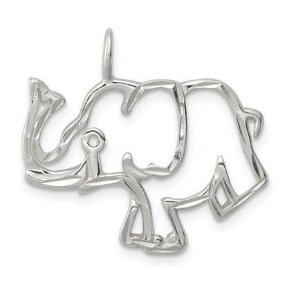 Picture of Sterling Silver Diamond Cut Outline of Elephant Pendant