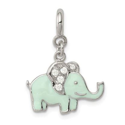 Picture of Sterling Silver Enameled with CZ Elephant Charm