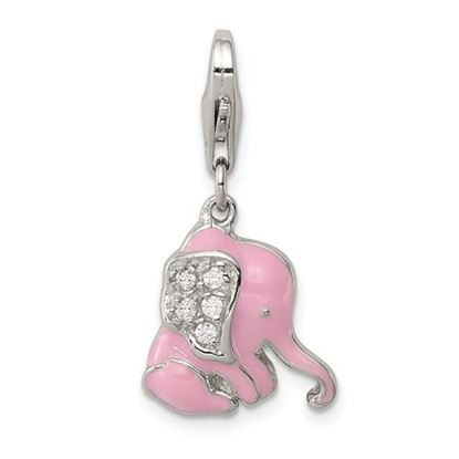 Picture of Sterling Silver Pink Enameled CZ Elephant Charm