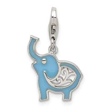 Picture of Sterling Silver Blue Enameled Elephant Charm