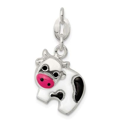 Picture of Sterling Silver Enameled Cow Charm
