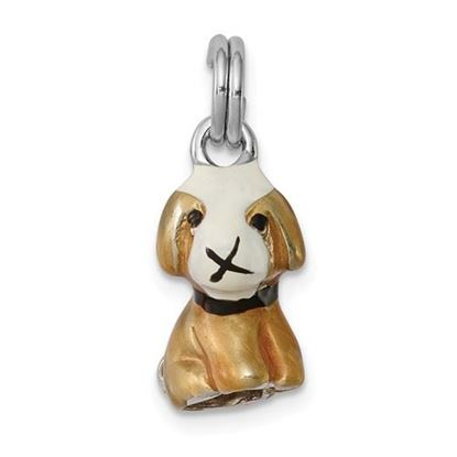 Picture of Sterling Silver Rhodium-plated Enamel Dog Charm