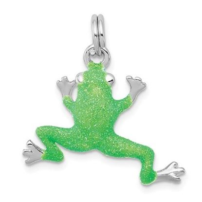 Picture of Sterling Silver Rhodium-plated Green Enamel Frog Charm