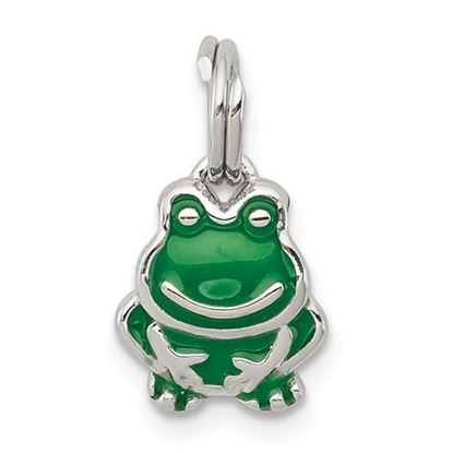 Picture of Sterling Silver Green Enameled Frog Charm