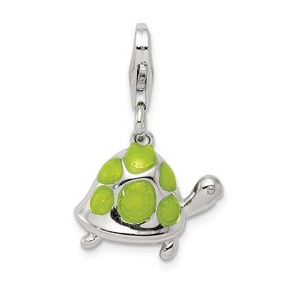 Picture of Sterling Silver Green Enameled Turtle Charm