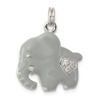 Picture of Sterling Silver CZ Grey Enameled Polished Elephant Charm