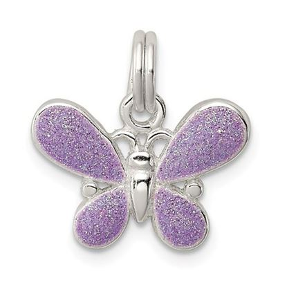 Picture of Sterling Silver Purple Enamel Polished Butterfly Charm