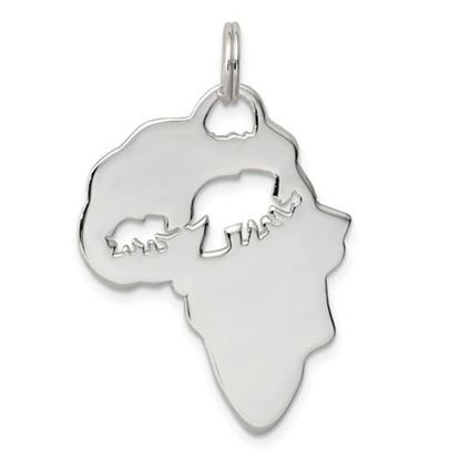 Picture of Sterling Silver Africa Continent with Elephant Cutout Pendant