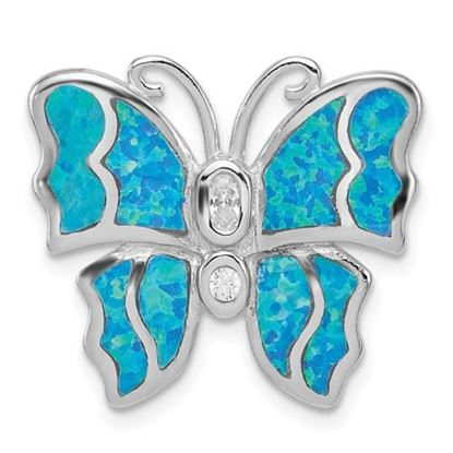 Picture of Sterling Silver Rhodium plated Blue Inlay Created Opal Butterfly Pendant