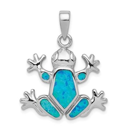 Picture of Sterling Silver Blue Inlay Created Opal Frog Pendant
