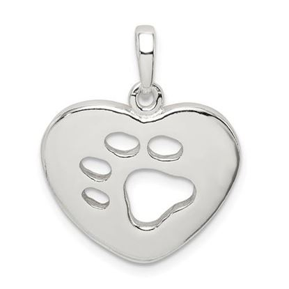 Picture of Sterling Silver Polished Heart with Paw Print Pendant