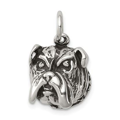 Picture of Sterling Silver Antiqued Bull Dog Charm