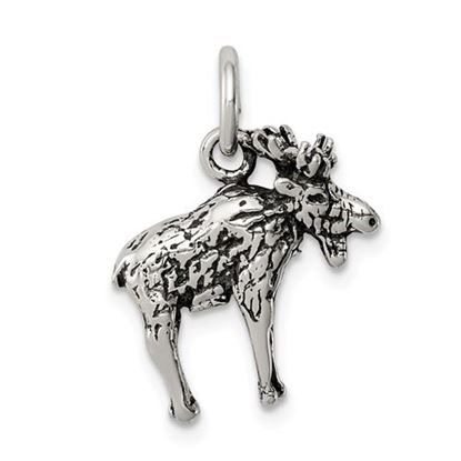 Picture of Sterling Silver Antiqued Moose Charm