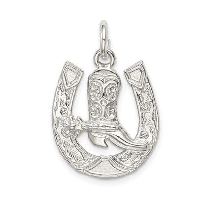 Picture of Sterling Silver Horseshoe with Boot Charm