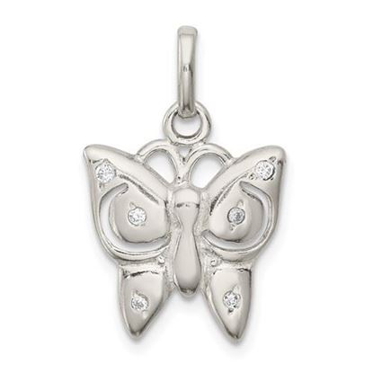 Picture of Sterling Silver Polished CZ Butterfly Charm