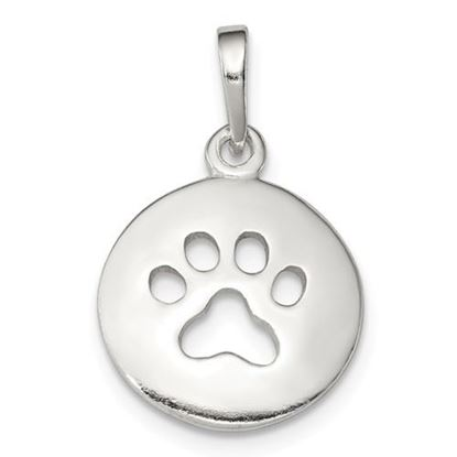 Picture of Sterling Silver Polished Paw Print Pendant