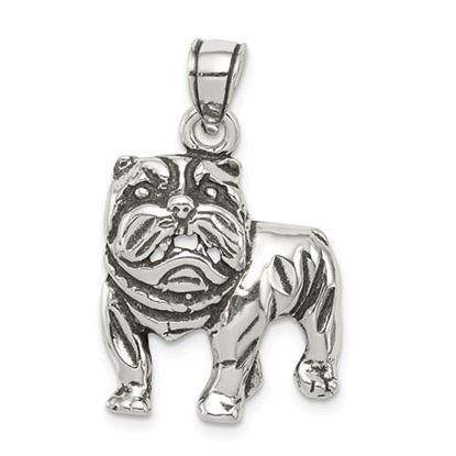 Picture of Sterling Silver Antiqued Bulldog Pendant