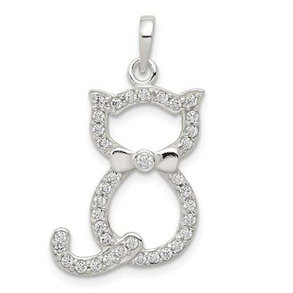Picture of Sterling Silver Polished CZ Cat Pendant