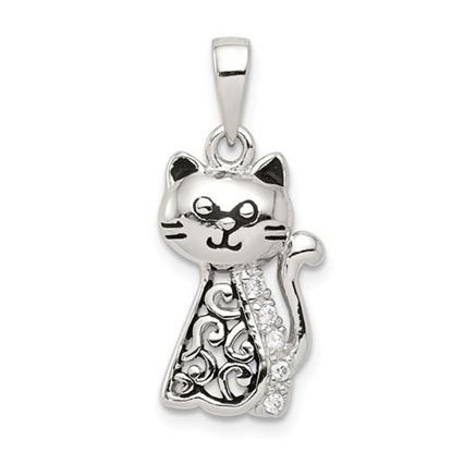 Picture of Sterling Silver Antiqued CZ Cat Pendant