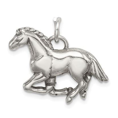 Picture of Sterling Silver Antiqued and Textured Horse Pendant