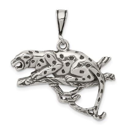 Picture of Sterling Silver Antiqued and Textured Leopard on Branch Pendant