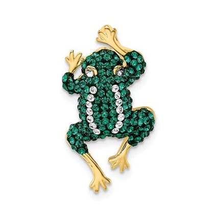 Picture of Sterling Silver Gold-tone White Green Crystal Frog Slide