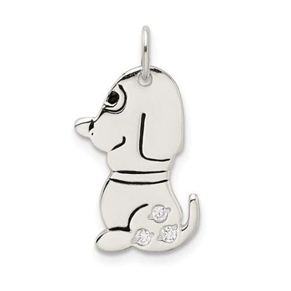 Picture of Sterling Silver Polished Enameled CZ Dog Charm