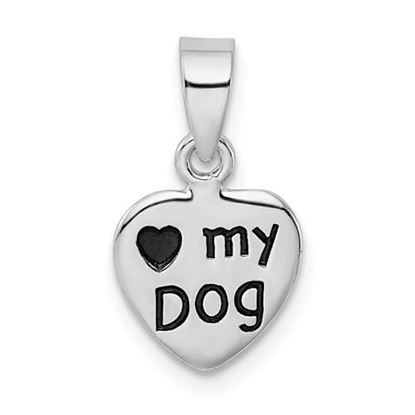 Picture of Love My Dog Sterling Silver Rhodium-plated Antiqued Pendant