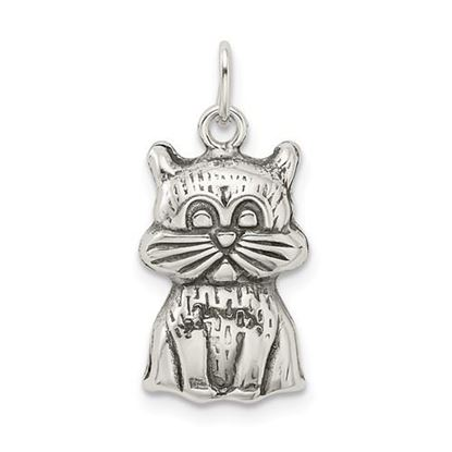 Picture of Sterling Silver Antiqued Cat Charm