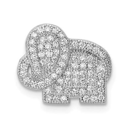 Picture of Sterling Silver Rhodium-plated CZ Elephant Slide Pendant