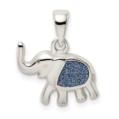 Picture of Sterling Silver Glitter Infused Elephant Pendant