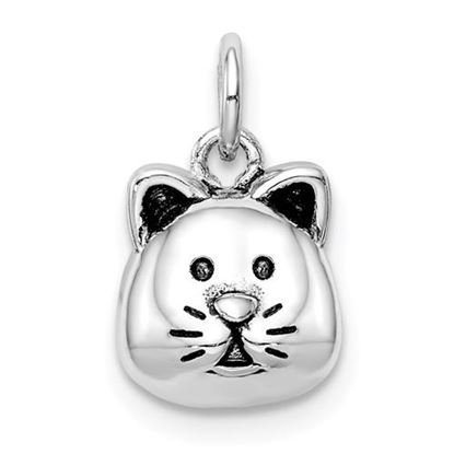 Picture of Sterling Silver Rhodium-plated Antiqued Cat Head Pendant