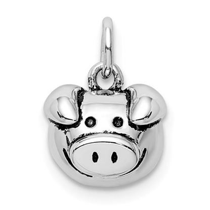 Picture of Sterling Silver Rhodium-plated Antiqued Pig Head Pendant