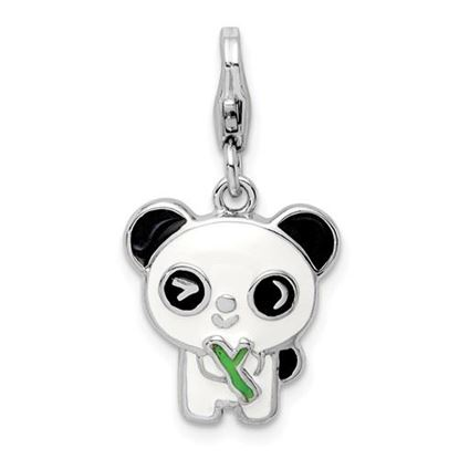 Picture of Sterling Silver Rhodium-plated Enameled Panda Lobster Clasp Charm